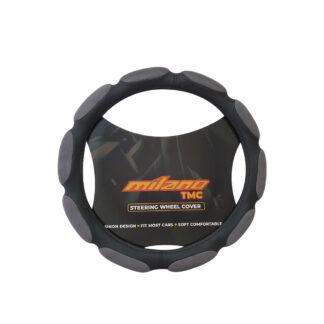 Cubre Volante Terciopelo Negro/Gris