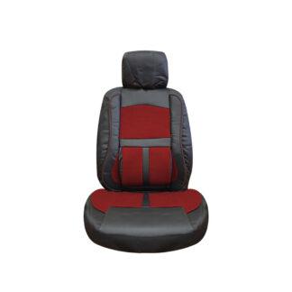 Cubreasiento Cuero Sintetico Negro Rojo 8 Piezas