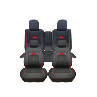Cubreasiento Cushion Modelo New Negro Linea Roja 5 Piezas